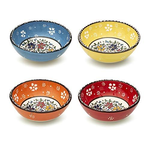 Juego de 4 cuencos de cerámica para tapas, postres, aperitivos, salsas, dulces, frutas pequeñas, nueces, helados, arroz, coloridos, decorativos para el hogar, marroquí, español, mexicano, Mandala