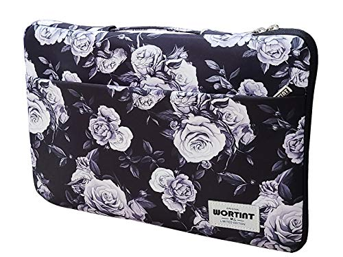 Women Laptop Bag Sleeve with Handle Protective Case Cover Water Resistant Shockproof Briefcase Multifunctional Carrying Bag for All Laptops, Notebooks, Ultrabooks, Netbooks. (White Rose)
