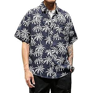 [BSCOOL]アロハシャツ メンズ 半袖 ビーチシャツ ゆったり 黄色 リゾートシャツ ファッション 大きいサイズ 5L 花柄 プリントシャツ ハワイ風 総柄 薄 夏 速乾 快適(Eブルー)