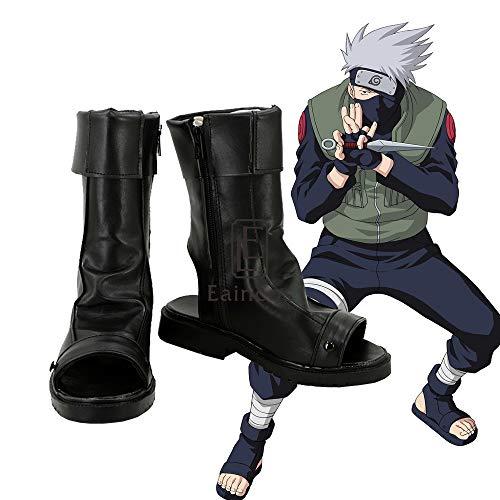 WSJDE Anime Naruto Hatake Kakashi Cosplay Party Schuhe Schwarz Angepasste Größe 43 Männliche Größe