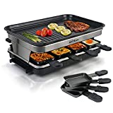 Electric Raclette Grill Indoor Raclette Machine | Raclette Table Grill for 8 Person | 8 Mini Pans for Cooking Cheese and Side Dishes & Portable 2 in 1 Korean BBQ Grill Indoor | Adjustable Thermostatic Heat Control | Large Square Non-Stick Cooking Surface | 1500W