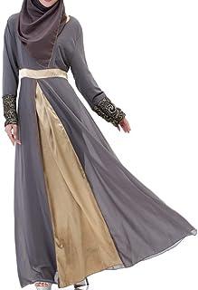 Vestidos Maxi Mujeres Musulmán Chiffon Mid-Eastern Abaya Vestido Noble Satén Moda Completi Islámicos Largos Kaftan Vestidos Manga Larga Cintura Alta Una Línea De Vestidos De Estilo Étnico