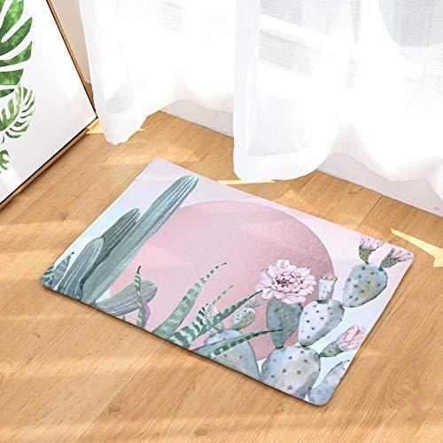 OPLJ Alfombra Absorbente de Estilo Tropical para el hogar Cactus Kitsch Alfombra Absorbente de gallina Alfombras de baño Antideslizantes Decoración del hogar Alfombra Interior A9 50x80cm