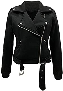 iHHAPY Womens Faux Leather Jacket Pilot Jacket Biker Jacket Vintage Zipper Jacket Turndown Collar Short Coat Two Pockets