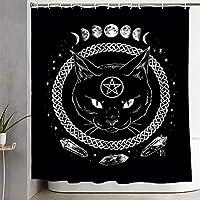ZHAOXIN 悪魔のような猫の五芒星の死ブラックメタルのシャワーカーテン耐久性のあるバスルームのカーテン