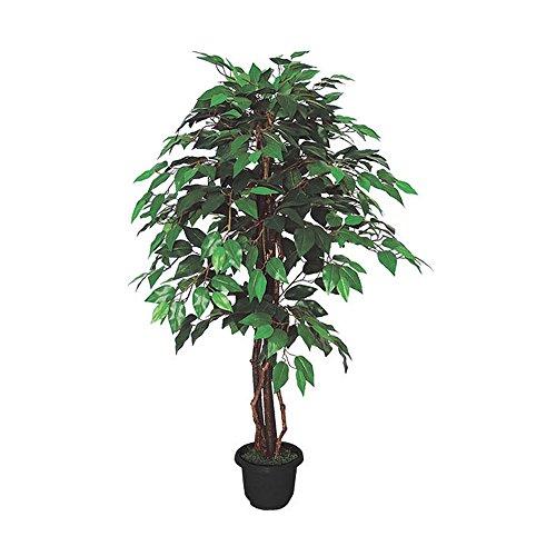 Decovego Ficus Benjamin Birkenfeige Kunstpflanze Kunstbaum Künstliche Pflanze mit Echtholz 110cm
