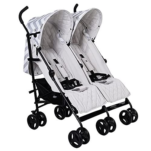My Babiie Billie Faiers MB11 Grey Chevron Twin Stroller