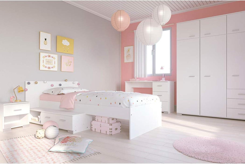 Expendio Jugendzimmer Galeno 152A wei 4-teilig Stauraumbett Nachttisch Kleiderschrank Schreibtisch