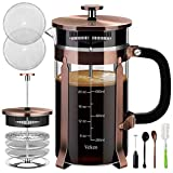 Veken French Press Coffee Maker (34 oz), 304 Stainless Steel Coffee...