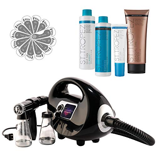 Fascination Spray Tan Machine Kit with St. Tropez Sunless Tanning Solution Pro Bundle and 25 pair Grey Disposable Spa Feet