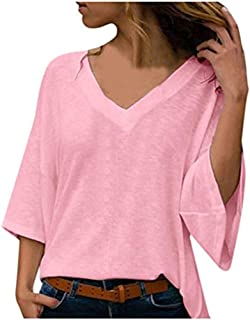 Women Blouses Plus Size V-Neck 3/4 Sleeve Casual Tee Pure Color Loose Knitwear Shirts Pullover Tops