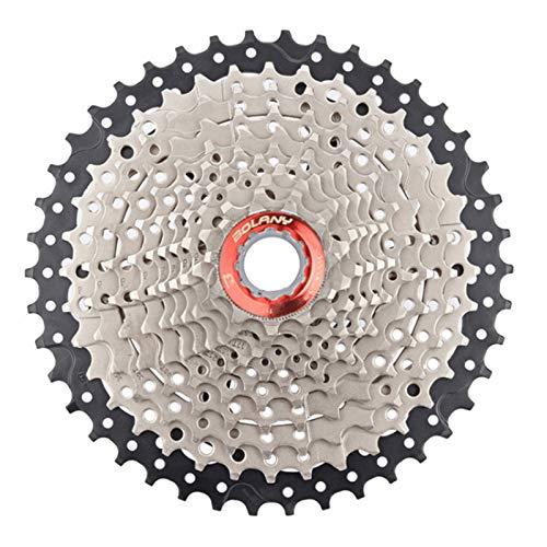 MTB-Fahrradkassetten, 11-Gang-Übersetzung, 11–42 Zähne, Stahl-Freilauf-Fahrrad-Kettenrad für Shimano/Sram Mountainbike-Zubehör (11 Gänge, 11–42 Zähne, Rot und Silber)