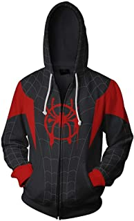 Spiderman Into The Spider Verse Hoodie Miles Morales Costume Sweatshirt for Halloween Holiday