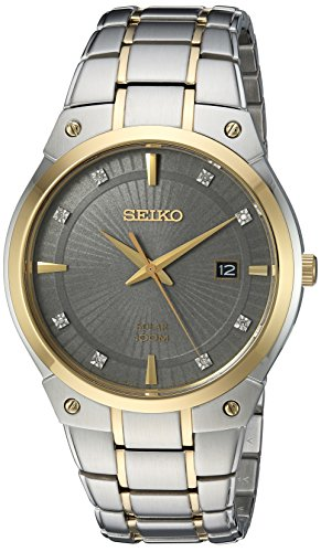 Men's  Japanese Quartz Stainless Steel Watch, Color:Two Tone, Solar - Seiko SNE430