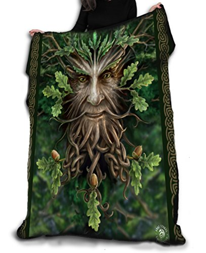 Oak King Fleece Blanket, Goth Occult Home Decor, Soft Bed Throw Tapestry, Dark Fantasy Art by Anne Stokes, 58 x 58inches