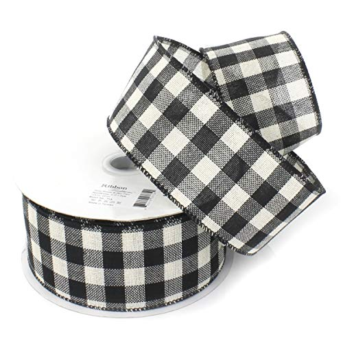 Ribbon Traditions Buffalo Plaid White and Black Wired Ribbon 2 1/2' by 10 Yards