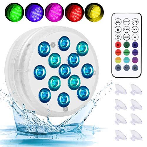 AQOTER Unterwasser Licht, 4 Stück Wasserdichtes LED Licht, Poollampe für Swimmingpool mit RF Fernbedienung 13-LED-Perlen IP68 Wasserdichtes für Teich Schwimmbad Aquarium Garten Vase Party Fest