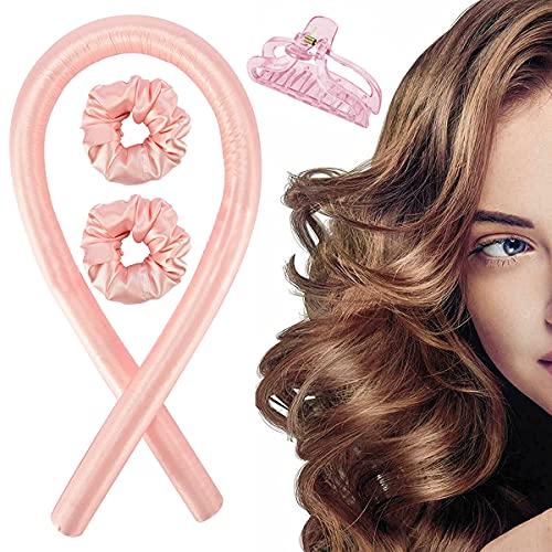Ledeak Värmelös locktång pannband, silkesband hårrullar lat locktång set inga värmerullar sova mjukt pannband vågformare hårlocktång gör-det-själv hårstyling verktyg för långt medium hår (rosa)