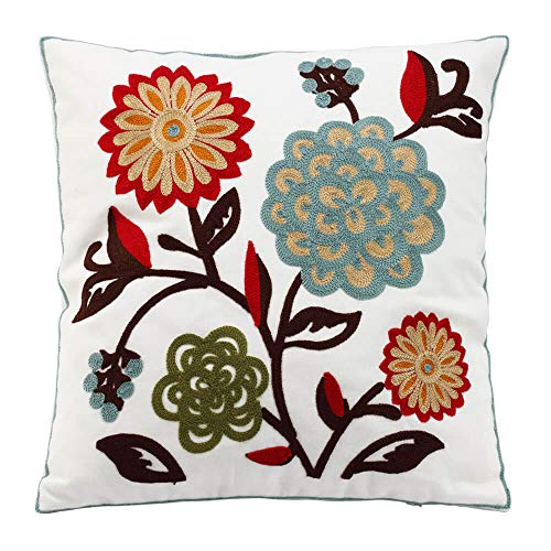 Oneslong Decorative Throw Pillow Covers 18x18 inch 100% Cotton Embroidery Floral Pattern on Solid Natural White Background for Couch Sofa Bed - Cushion Not Included