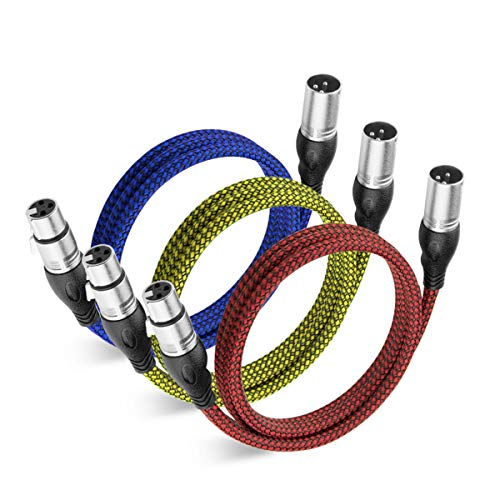 XLR Cable 10 Feet, NUOSIYA XLR to XLR Microphone Cable, Nylon Hybrid Woven Mic Patch Cable DMX Cable (3-Color)