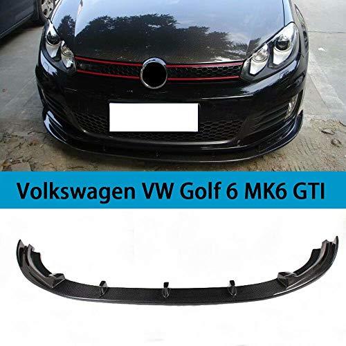 QCQCHUN Geeignet für Volkswagen VW Golf 6 MK6 GTI 2010-2013 Auto Frontspoiler schwarz Kohlefaser CF Chin Stoßstange Verlängerungslippe Diffusor