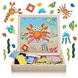 YagoDago 142 Piezas Puzzles de Madera Magnético, Pizarra Magnética Rompecabezas Madera Tablero de Dibujo Doble Cara Juguete Educativo, Mundo Oceánico, para Niños 3 4 5 Años
