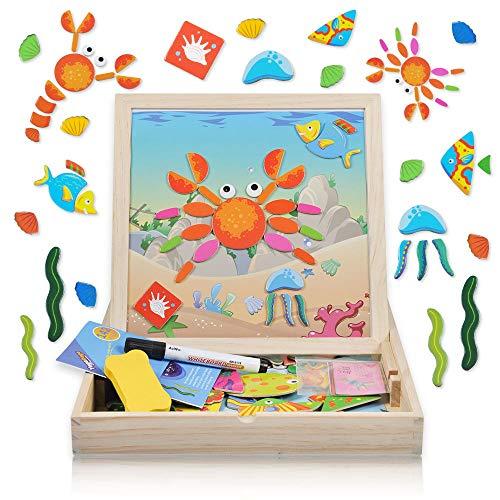 YagoDago Magnetisches Holzpuzzle mit Doppelseitiger Tafel, 142 Stück Marine-Thema pädagogisches Holzspielzeug Lernspielzeug Staffelei Doodle für Kinder ab 3 Jahre alt mit 3 Hintergrundbild