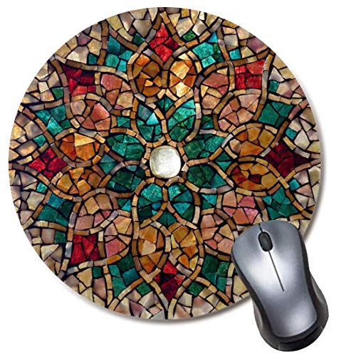 """Round Mousepad,Non-Slip Rubber (8"""" Inch) Mouse Mat for Computer and Laptop - Autumn Star Mandala Mouse Pad"""