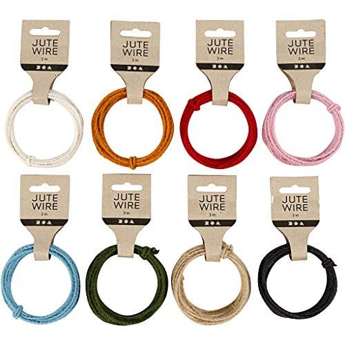 Creativ e 503490 Jute draad, diverse kleuren, 2-4 mm dikte, 3 m lengte, verpakking van 8 stuks