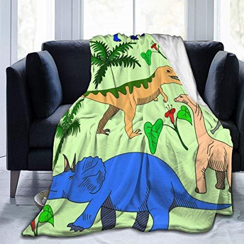 Manta de microfibra de franela de dinosaurio con amigos, manta de felpa cálida y difusa para cama, sofá, sala de estar, adolescentes, 60 x 50 pulgadas