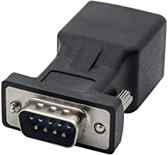 DB9 RS232 Male Port to RJ45 Female Connector Card DB9 Serial Port Extender to LAN CAT5 CAT6 RJ45 Network Ethernet Cable Adapter