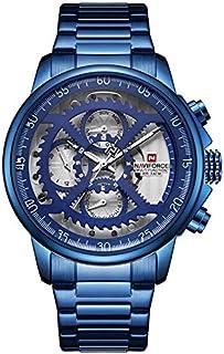 ساعة يد كلاسيكية بعرض انالوج ومينا ابيض وسوار من الستانلس ستيل للرجال من نافي فورس - موديل NF9150-BEWBE