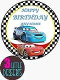 Decoración comestible para tarta de Cars Happy Bithday en lámina de glaseado comestible de primera calidad, redonda, 19 cm, decoración de fiesta de cumpleaños cualquier mensaje