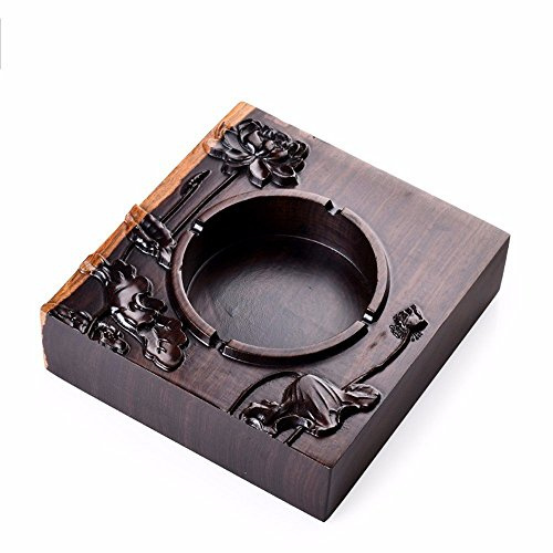 ZHQ Large Wooden Ashtray Creative Personality Gifts Chinese Style Retro Home Ashtray Tea Ceremony Accessories (Color : B)