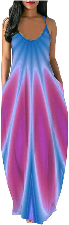 AIHOU Women Coloful Plus Size Spaghetti Strap Sexy Sleeveless Plus Size Cami Long Maxi Dress Beach Casual Summer Sundress