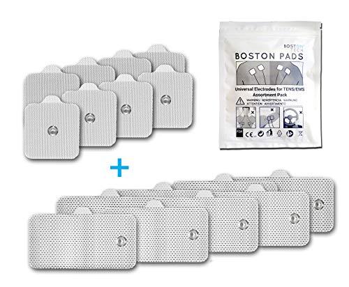 Boston Tech Electrodos autoadhesivos Compex supersoft para unidades de TENS/EMS de estimulación muscular, Conexión Snap (Botón) Tecnología Premium de 3 Capas. 16 Unidades.