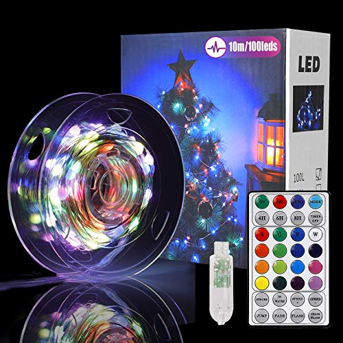 100 Led 16 Colors Fairy Lights USB Plug in, Multi Color Change Christmas Lights with Remote String Lights 33ft Starry String Lights for Indoor, Thanksgiving, Party, Bedroom, Wedding, Holiday Décor
