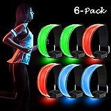 Sporgo LED Armband, 6 Stück Reflektorband LED Leucht Armbänder Reflective Lichtband Kinder Nacht...