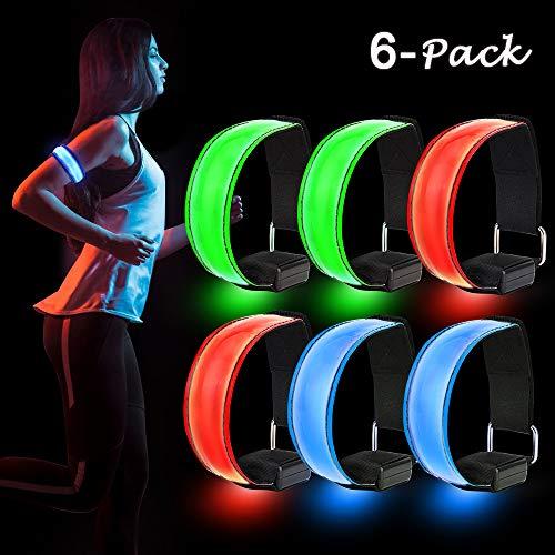 Sporgo LED Armband, 6 Stück Reflektorband LED Leucht Armbänder Reflective Lichtband Kinder Nacht Sicherheits Licht Reflektor für Laufen Joggen Hundewandern Running Outdoor Sports