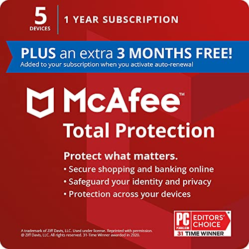 McAfee Total Protection 2021, 5 Device, Antivirus Internet Security Software, Password Manager, Privacy, 1 Year Subscription (PLUS an extra 3 MONTHS FREE) - Key Card