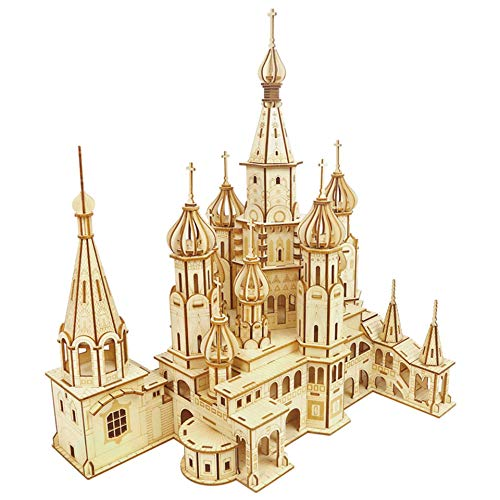 WEUN Rompecabezas de Madera 3D para Adultos Catedral de San Basilio, Kits de Modelos de Manualidades, Bloques de construcción ensamblados, Regalos de decoración del hogar para niños, Esposo y Esposa