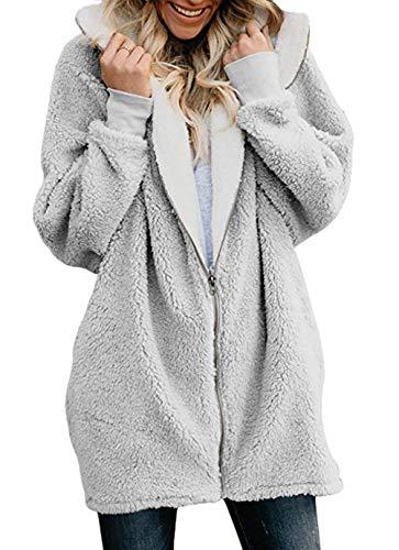 Chaqueta con Capucha Mujer Otoño Invierno Manga Regalos con Vacaciones de Larga Cremallera Hoodie Abrigos Elegantes Moda Anchas Casual Polares Vellón Sudaderas con Capucha Outwear