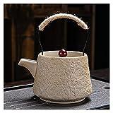 jinrun Tetera Tetera cerámica gres manija té tetero hogar Retro Kung fu Juego de té único Maceta Hecha a Mano Anti-escaldado Tetera (Color : 2)