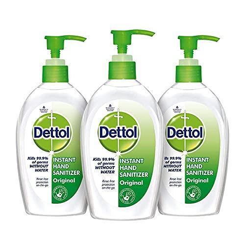 Dettol Hand Sanitizer Liquid Gel Pump | 70% Alcohol, Kills 99.9% Germs (Pack of 3 – 200ml each)