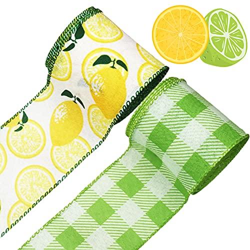 2 Rolls Lemon Wired Ribbon Summer Lemon Ribbon for Summer Wreath Decoration