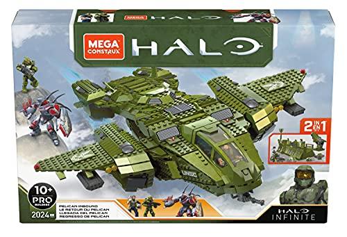 Mega Construx Halo Grande Velivolo UNSC Pelican 2in1 da Costruire con Abitacolo, Carrello Funzionante e 3 Micro Personaggi, Giocattolo per Bambini 8+ Anni, GNB28