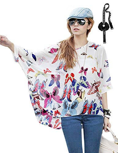 sitengle Damen Sommer B?hmische FL¨¹Gel ?rmel Chiffon Bluse Kurzarm Strand Beil?ufige Shirt Bat Sleeve Lose Hemd T Shirt Tops (One Size, Schmetterling)