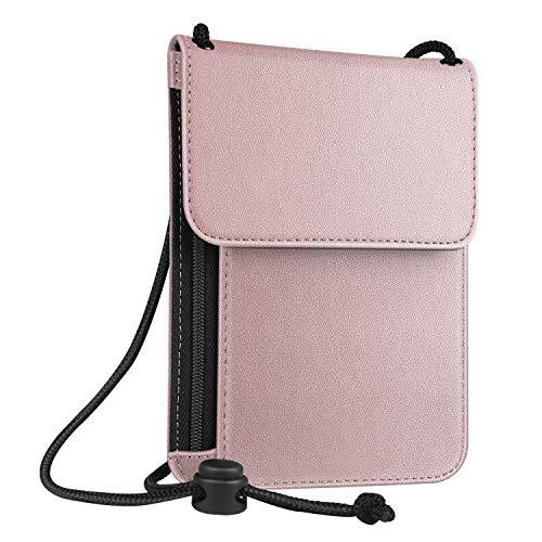 Fintie RFID-Blockierung Brustbeutel Organizer - Premium Kunstleder Reisepasshülle Brusttasche Reisegeldbeutel Brustbeutel-Tasche, Roségold