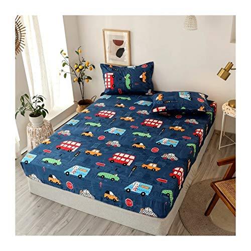 Juego de edredón King Tamaño Ropa de cama de lino Modelo grande Hoja de cama en forma de corazón-cama fijado for el colchón doble cubierta con elástico Sábana ( Color : Type 22 , Size : 90x200x25cm )
