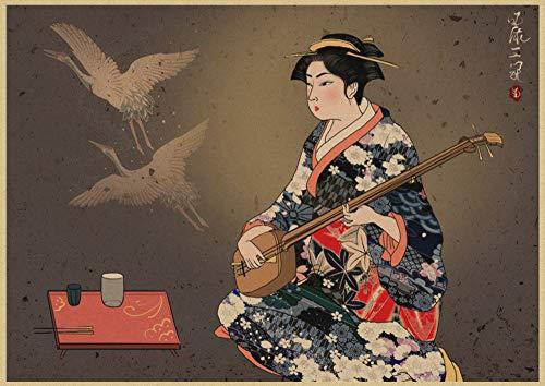 h-p Criada De Estilo Japonés Retro Película Lienzo Arte Pintura Al Óleo Cartel Decoración del Hogar Mural Sin Marco50X60Cm U8583